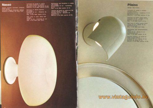 Artemide Catalogue 1973. Artemide Nesso Wall Lamp, Design: Gruppa Architetti Urbanisti Citta Nueva. Artemide Pileino Wall Lamp, Design: Gae Aulenti.