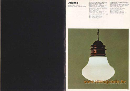 Artemide Catalogue 1973 - Artemide Ariana Pendant, Design: Piero Brombin