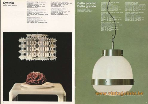 Artemide Cynthia Pendant, Design: Mario Marenco Artemide Delta Picollo, Delta Grande Pendant, Design: Sergio Mazza