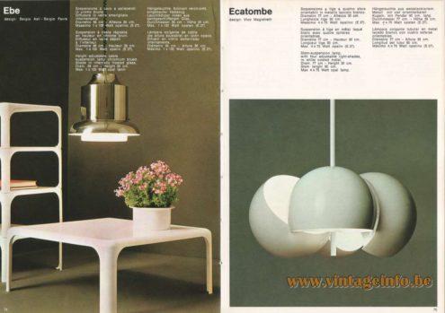 Artemide Ebe Pendant Light, Design: Sergio Asti, Sergio Favre. Artemide Ecatombe Pendant Light, Design: Vico Magistretti
