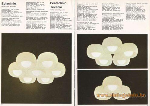 Artemide Eptaclinio Chandelier, Design: Vico Magistretti Artemide Pentaclinio Triclinio Pendant Light, Design: Vico Magistretti