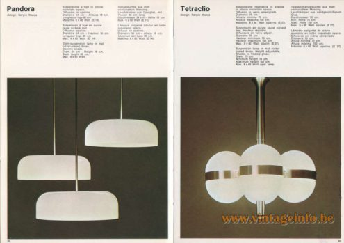 Artemide Pandora Pendant Light, Design: Sergio Mazza Artemide Tetraclio Chandelier, Design: Sergio Mazza