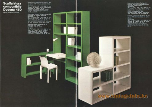 Artemide Scaffalatura  Componibile Dodona 450, Modular Shelving  Bookcase and Writing Desk, Design: Ernesto Gismondi