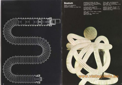 Artemide Catalogue 1973. Artemide Boalum Table, Wall or Floor Lamp, Design: Livio Castiglioni and Gianfranco Frattini..