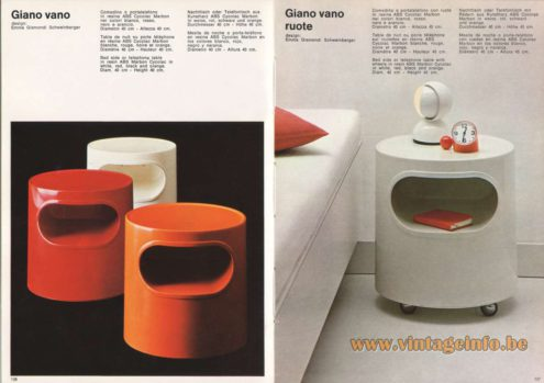 Artemide Giano Vano & Giano Vano Ruote Bedside Table or Telephone Table, Design: Emma Gismondi Schweinberger