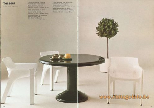 Artemide Catalogue 1973. Artemide Tessera Table, Design: Vico Magistretti.
