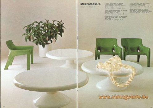 Artemide Catalogue 1973. Artemide Mezzatessera Table, Design: Vico Magistretti.