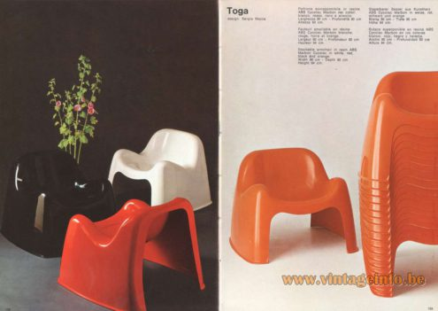 Artemide Catalogue 1973. Artemide Toga Chair, Design: Sergio Mazza.
