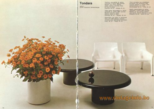 Artemide Catalogue 1973. Artemide Tondara Table, Design: Emma Gismondi Schweinberger.