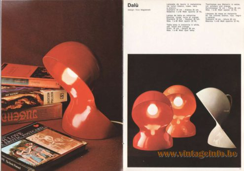Artemide Catalogue 1973. Artemide Dalù Table Lamp, Design: Vico Magistretti.