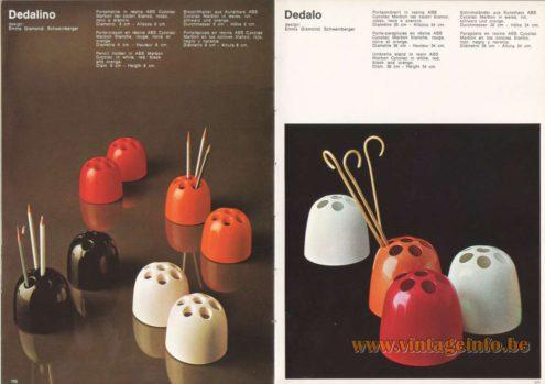 Artemide Catalogue 1973. Artemide Dedalino Penholder & Dedalo Umbrella Stand, Design: Emma Gismondi Schweinberger. Dedalotto Is A Vase.