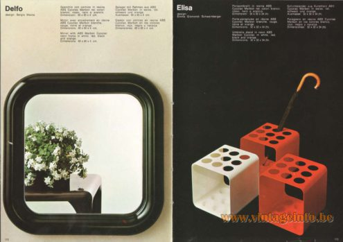 Artemide Catalogue 1973. Artemide Delfo Mirror, Design: Sergio Mazza Artemide Elisa Umbrella Stand, Design: Emma Gismondi Schweinberger.