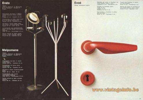 Artemide Catalogue 1973. Artemide Erato Hat Stand, Design: Lodovico Barbiano di Belgiojoso, Enrico Perressuti, Ernesto N. Rogers. Artemide Evoé Door-handle, Design: Gianfranco Frattini.