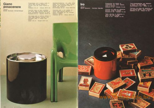 Artemide Catalogue 1973. Artemide Giano Possacenere Ash-Stand, Design: Emma Gismondi Schweinberger. Artemide Iro Table Ash-Tray, Design: Mario Marenco, Giuliano Marroder.