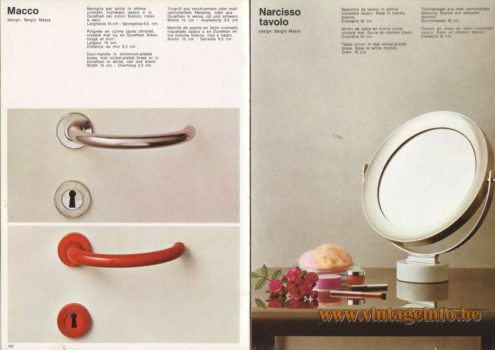 Artemide Catalogue 1973. Artemide Macco Door-Handle & Narcisso Tavolo Table Mirror, Design: Sergio Mazza.