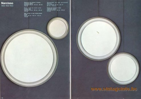 Artemide Catalogue 1973. Artemide Narcisso Wall Mirror, Design: Sergio Mazza.