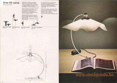 Artemide Catalogue 1976 - Artemide Area 50 curva, design Mario Bellini