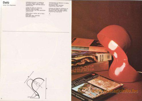 Artemide Catalogue 1976 - Artemide Dalù, design Vico Magistretti