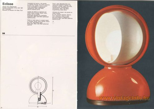 Artemide Catalogue 1976 - Artemide Eclisse, design Vico Magistretti