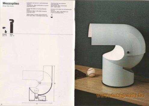 Artemide Catalogue 1976 - Artemide Mezzopileo, design Gae Aulenti