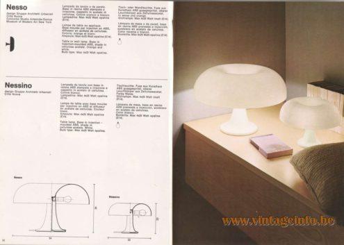 Artemide Catalogue 1976 - Artemide Nessino, design Gruppo Architetti Urbanisti Citta Nuova