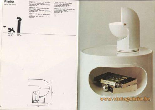 Artemide Catalogue 1976 - Artemide Pileino, design Gae Aulenti