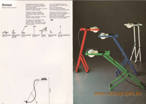 Artemide Catalogue 1976 - Artemide Sintesi, design Ernesto Gismondi