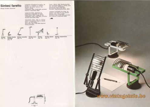 Artemide Catalogue 1976 - Artemide Sintesi faretto, design Ernesto Gismondi