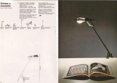 Artemide Catalogue 1976 - Artemide Sintesi a morsetto, design Ernesto Gismondi