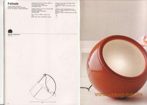 Artemide Catalogue 1976 - Artemide Pallade, design Studio Tetrarch, Adelaide Bonati, Silvio Bonatti, Enrico de Munari, Carla Federspiel