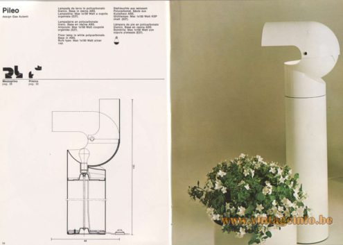 Artemide Catalogue 1976 - Artemide Pileo, design Gae Aulenti