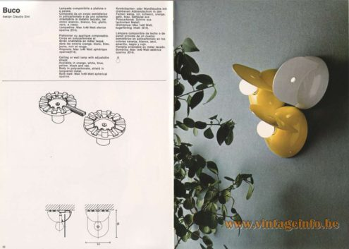 Artemide Catalogue 1976 - Buco lamp, design Claudio Dini
