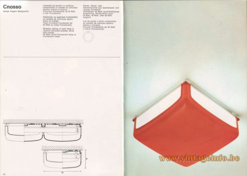 Artemide Catalogue 1976 - Cnosso ceiling lamp, design Angelo Mangiarotti