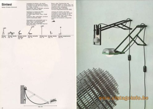 Artemide Catalogue 1976 - Sintesi wall lamp, design Ernesto Gismondi