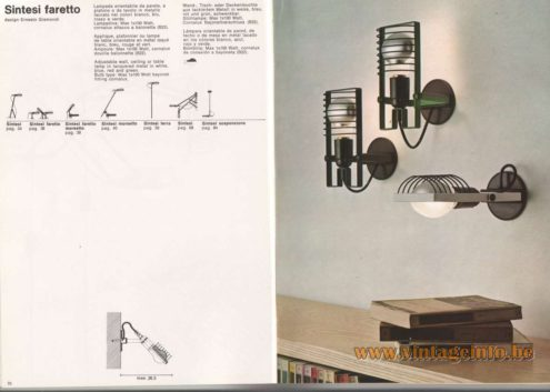Artemide Catalogue 1976 - Sintesi Faretto wall lamp, design Ernesto Gismondi