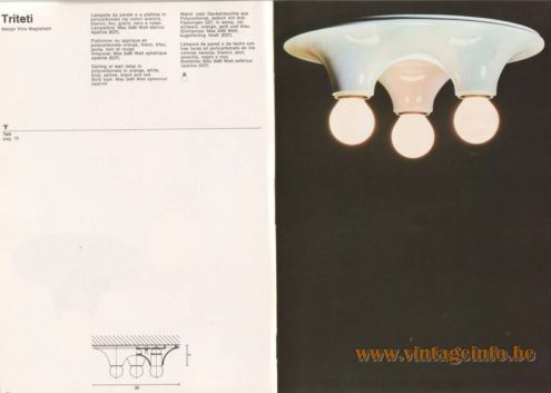 Artemide Catalogue 1976 - Triteti ceiling lamp, design Vico Magistretti