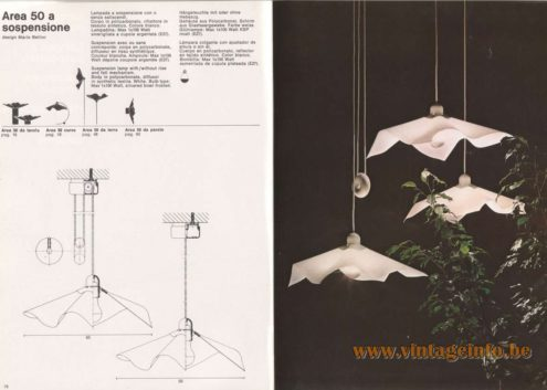 Artemide Catalogue 1976 - Area 50 a sospensione, design Mario Bellini - pendant light