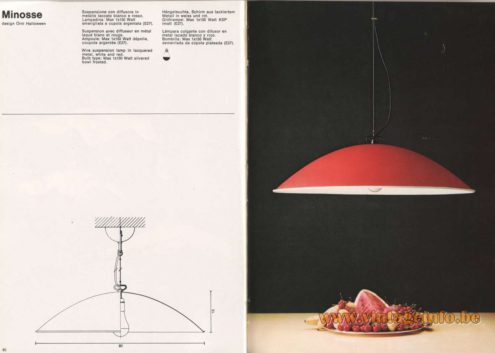 Artemide Catalogue 1976 - Minosse pendant light, design Orni Halloween
