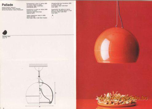 Artemide Catalogue 1976 - Pallade pendant light, design Studio Tetrarch, Adelaide Bonati, Silvio Bonatti, Enrico De Munari, Carla Federspiel.