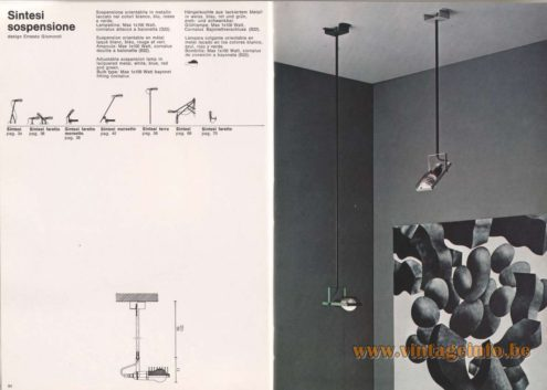 Artemide Catalogue 1976 - Sintesi Sospensione, design Ernesto Gismondi - Sintesi Ceiling Lamp
