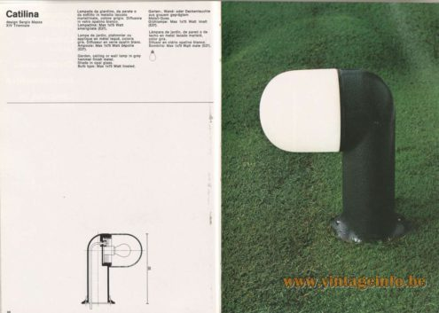 Artemide Catalogue 1976 - Catilina Garden Lamp, design Sergio Mazza – XIV Triennale