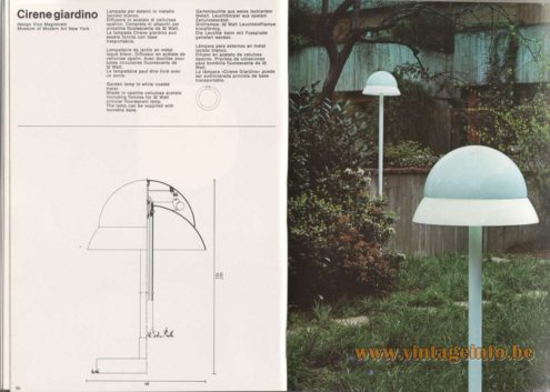 Artemide Catalogue 1976 - Cirene giardino, garden light, design Vico Magistretti – MOMA – Museum of Modern Art New York