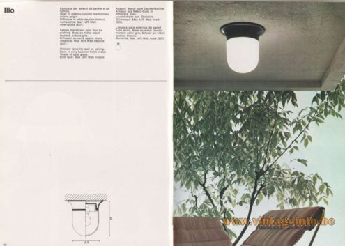 Artemide Catalogue 1976 – Artemide Illo Outdoor lamp for wall or ceiling. Base in grey hammer finish metal. Shade in opal glass. Bulb type: Max 1×75 Watt frosted.