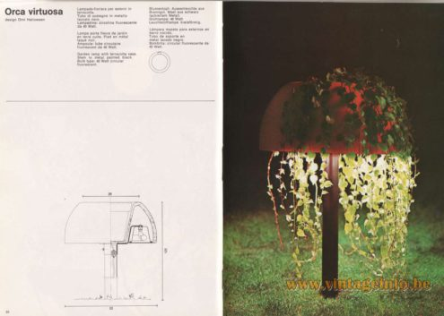 Artemide Catalogue 1976 - Orca Virtuosa, design Örni Halloween. Garden lamp with terracotta vase. Stem in metal painted black. Bulb type: 40 Watt circular fluorescent.
