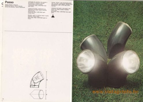 Artemide Catalogue 1976 - Passo, design Studio Tetrarch Adelaide Bona ti, Silvio Bonatti. Enrico De Munari, Carla Federspiel. Garden, wall or ceiling lamp in grey hammer finish metal. Bulb type: Max 1×100 Watt spot or flood.