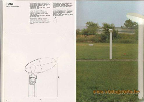 Artemide Catalogue 1976 - Artemide Poto, design Örni Halloween. Garden lamp. Diffuser in white opaline polycarbonate and cap in white polycarbonate. Stem in GRP. Bulb type: Max 1x12s Watt mercury-vapour.