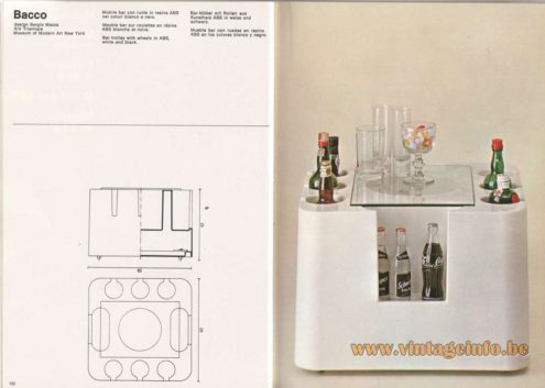 Artemide Catalogue 1976 - Bacco, design Sergio Mazza. XIV Triennale. MOMA – Museum of Modern Art New York. Bar trolley with wheels in ABS, white and black.