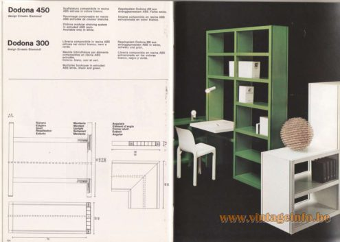 Artemide Catalogue 1976 - Dodona 300, Dodona 450, design Ernesto Gismondi. Dodona 450 modular shelving system in extruded ABS resin. Available only in white. Dodona 300 Multiplex bookcase in extruded ABS white, black and green.