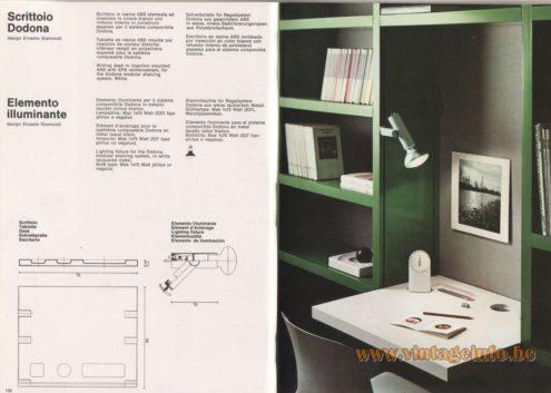 Artemide Catalogue 1976 - Elemento Illuminante, design Ernesto Gismondi. Lighting fixture for the Dodona modular shelving system.