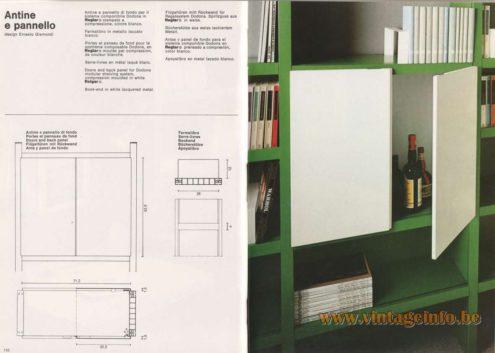 Artemide Catalogue 1976 - Antine e pannello, design Ernesto Gismondi. Doors and back panel for Dodona modular shelving system.